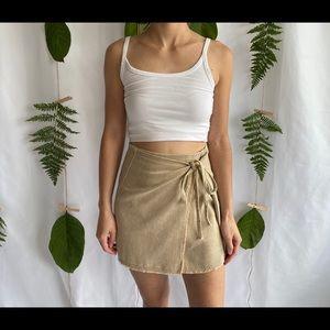 Washed Denim Wrap Skirt